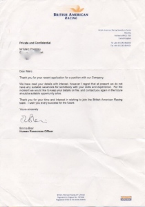 F1 rejection letter